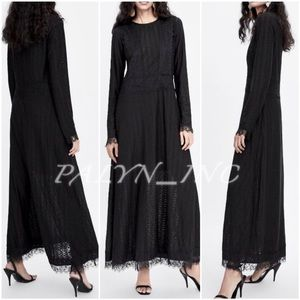 ❤️❤️ZARA LONG MAXI LACE DRESS BLACK party